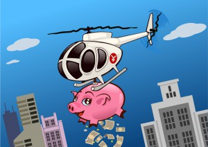 Helicopter Throwing money from a piggy Bank. Yen version